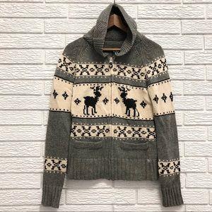 Aritzia TNA Lambswool Zip Sweater , Stag Print